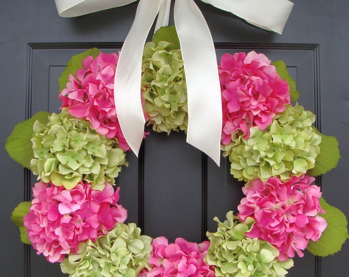 Outdoor Summer Hydrangea  Wreath- Custom Hydrangea Summer Wreath- Spring Wreath for Door- Custom Colors 24 inch shown with leaves