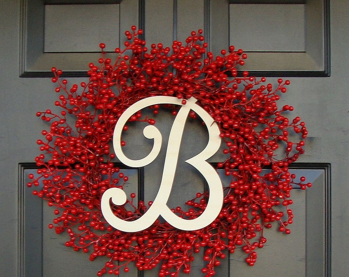 Door Wreath Monogram Christmas Wreath Front Door Red Berry Wreath- Personalized Monogram Christmas Gift Holiday Valentine's Day Wreath