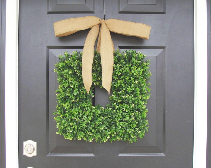16 inch Square Boxwood Wreath- Spring Wreath- Housewarming Gift- Kitchen Decor- Shabby Chic Wreath- Choice of Ribbon- 16 INCH