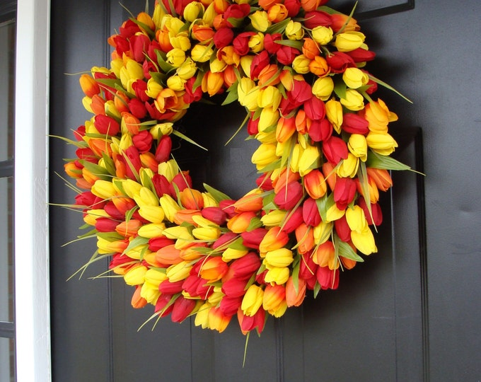 Easter Wreath- Easter Decoration- Spring Wreath- Tulips- Spring Decor- Spring Decoration- Tulip Wreath 20 inch