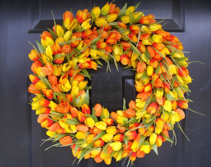 Spring Wreath, Tulip Spring Wreath Custom, Spring Decor, Easter Wreath, Housewarming Gift, Orange Yellow Tulip Wreath- Sunshine, Sunny days