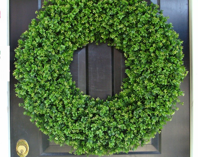 Outdoor Door Wreath All Seasons Artificial Boxwood Wreath, XXL Front Door Decor- 26 inch