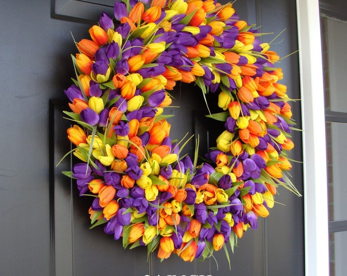 Custom Spring Wreath- Door Wreath- Tulip Wreath Custom Colors- Summer Wreath- Outdoor Spring Decor