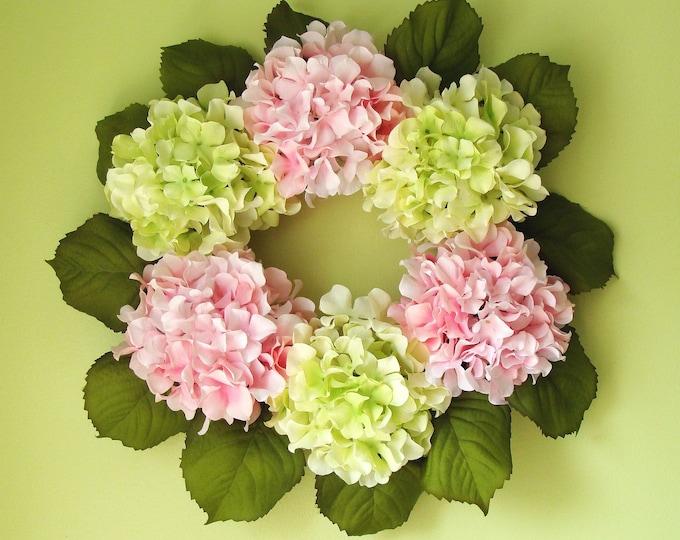 Spring Hydrangea Wreath, Girls Room Decor, Shabby Chic Decor, Wall Art, Bedroom Decor, Baby Nursery Decor, Wall Decor