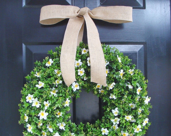 Spring Wreath- Faux Boxwood Wreath- Summer Wreath- Cottage Chic Front Door Decor- Spring Wreaths