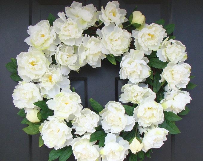 White Summer Wreath- Wedding Wreath- White Peonies- Peony Wreath- Wedding Decor- Summer Wreath Decor- 24 INCH Year Round Wreath