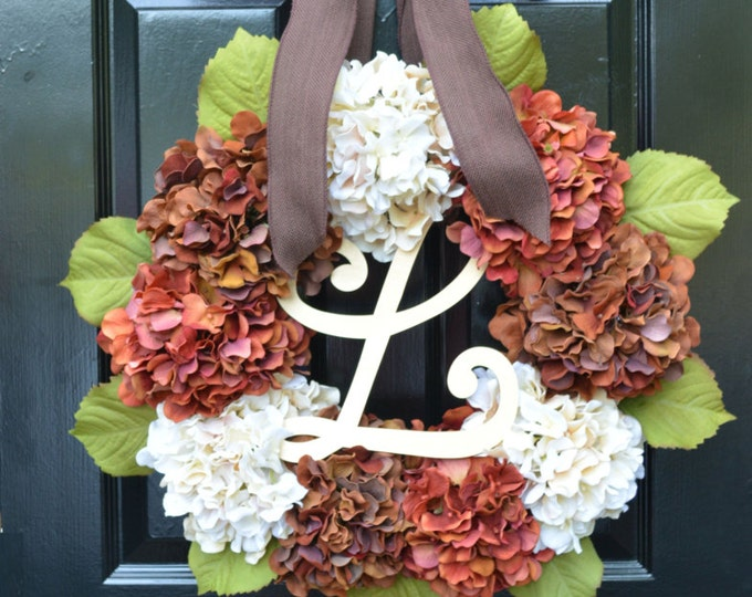 Hydrangea Fall Wreaths, Fall Hydrangea Wreath,  Ready to Ship, Fall Decor, Wedding Decoration, 24 inch Ready to Ship