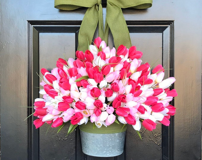 Spring Mother's Day Tulip Wreath, Tulip Door Bucket  Spring Wreath, Tulip Wreath Gift for Mom Wreath for Spring Custom Size