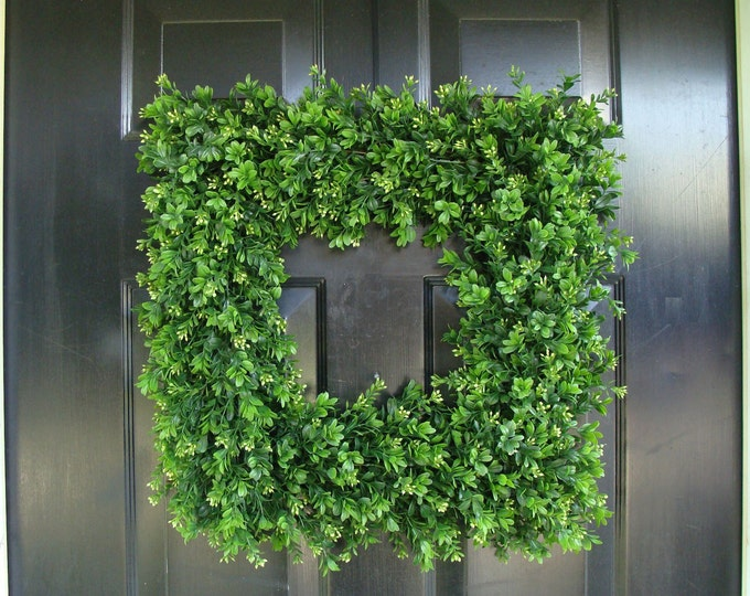 Front Door Wreath, 20 inch Square Boxwood Wreath (shown), Spring Outdoor Wreath,  Front Door Decor, Wedding Wreath, THIN WREATH, Etsy Spring