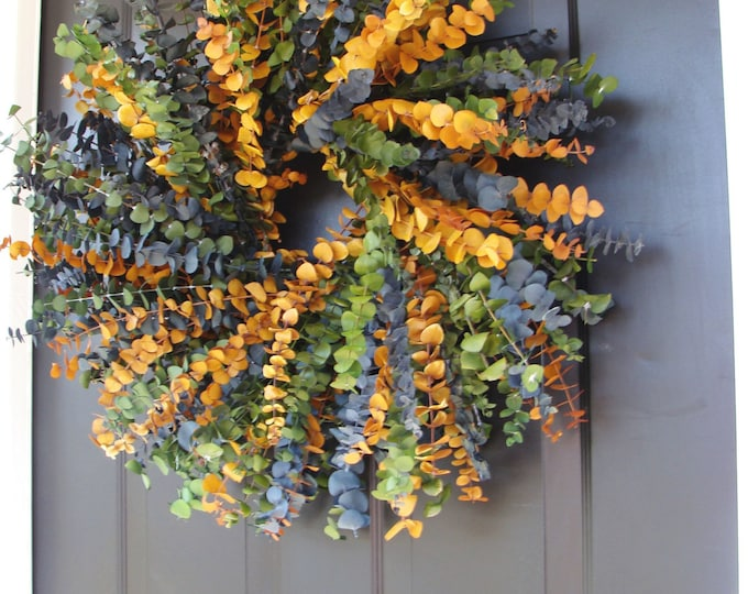 Eucalyptus Wreath- Year Round Wreath- Spring Wreath- Wall Decor- Dried Floral Wreath