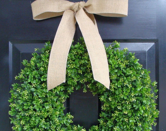 Spring Boxwood Wreath- Year Round Wreath Decor- Etsy Wreath- Artificial Boxwood Wreath- Burlap Ribbon- Christmas Wreath- Fall Wreath