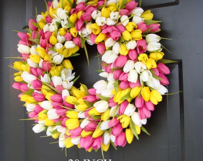 Spring Wreath- Tulip Spring Wreath- Summer Wreath- Custom Front Door Wreath- Spring Decor- Easter Decoration- Outdoor Wreath