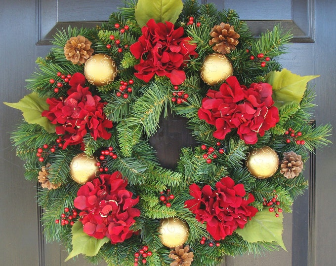 Outdoor Red Berry and Hydrangea Artificial Evergreen Christmas Wreath, Christmas Decor, Gift for Her, Pinecone, Shatterproof Ornaments