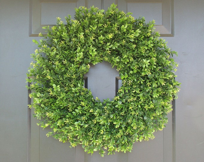 Farmhouse Artificial Boxwood Wreath, Farmhouse Wreath, Greenery Wreath Storm Door Wreath,Front Door Outdoor Farmhouse Decor Sizes 12-24 inch