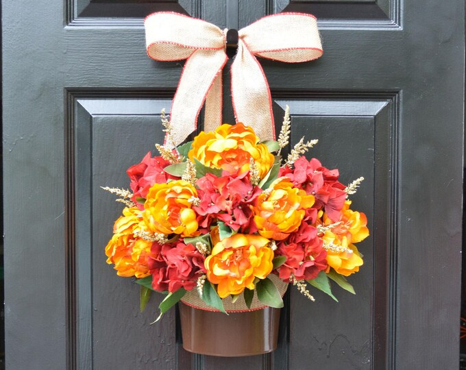 Fall Peony Hydrangea Door Bucket, Fall Wreath Alternative, Fall Decor for Front Door, Autumn Decoration, Fall Colors, READY TO SHIP 22 inch