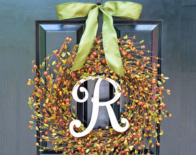 Fall Berries Pumpkins Leaves Wreath, Fall Wreath, Fall Decor Monogram Wreath, Outdoor Decor, Autumn Fall Decor Fall Colors 18 inch LAST ONE