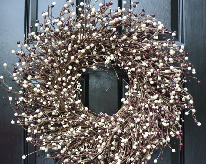 ON SALE Door Wreath Fall Berry Wreath, Burgundy Cream Christmas Wreath, Cottage Chic Decor, Primitive Wreath, Rustic Decor, Christmas Wreath