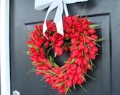 Red Tulip Heart Wreath  Valentine's Day Wreath  I LOVE YOU  Decor  Valentines Day Gift  Wedding Gift Wedding Decor Spring Wreath