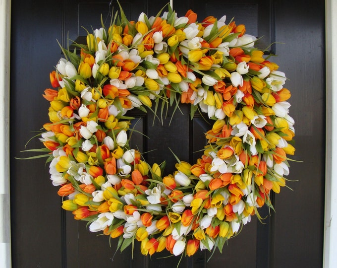 Spring Decor- Mother's Day Wreath- Easter Wreath- Spring Wreath- 24 inch Extra Large Wreath, Orange Twist
