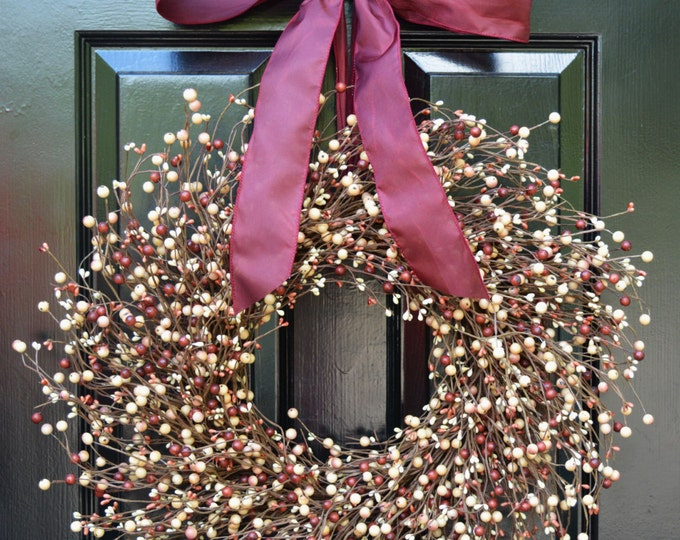 Fall Berry Wreath- Year Round Wreath- Christmas Decor- Autumn Wreath- Cream and Rose Wreath- Autumn Wreath- Door Wreath- All Season Wreath