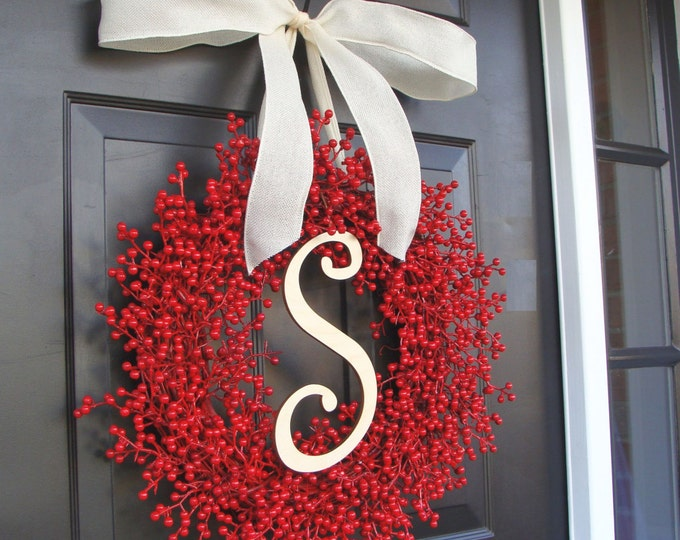 Christmas Decor- Christmas Wreath Front Door- Holiday Decoration- Christmas Decoration- Holiday Decor- Monogram Berry Christmas Wreath