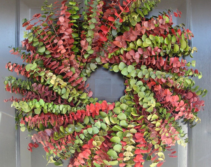 Eucalyptus Wreath-Custom Preserved 20 Inch Wreath- Spring Wreath- Preserved Dried Floral Wreath- Choose your Color Combination