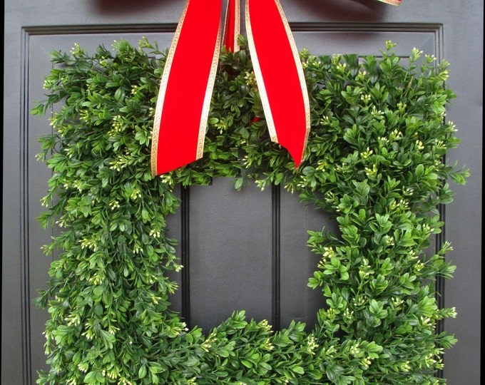 Square Artificial Boxwood Holiday Wreath Christmas Wreath- Christmas Decor- Ready to Ship-Christmas Decoration- Evergreen Alternative