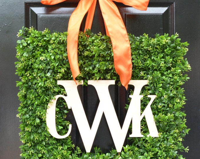 Square Monogram Boxwood Fall Wreath, Boxwood Monogram Wreath, Outdoor Year Round Wreath, Housewarming Gift, Wedding Wreath 24 INCH shown