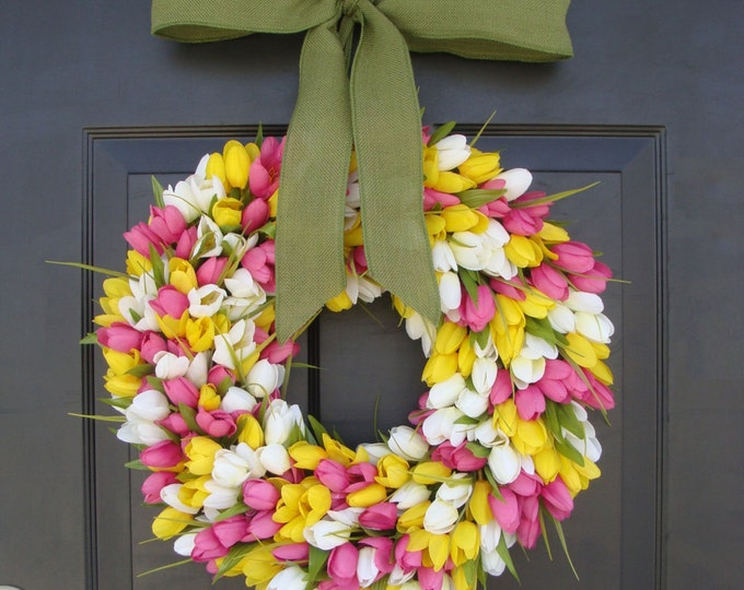 Spring Decor- Spring Wreath- Tulip Wreath- Wreath for Door- Door Wreath- Etsy Wreath Custom Sizes