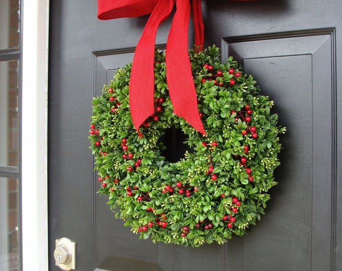 Christmas Berries Boxwood Holiday Wreath Christmas Wreath Designer Ribbon, Boxwood Wreath, Berry Wreath, Winter Wreath