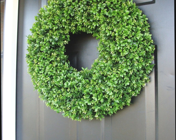 Outdoor Decor, Door Wreaths, Four Seasons, Outdoor Wreath Greenery, Spring Decor, Artificial Boxwood, Wreath Door Hanging
