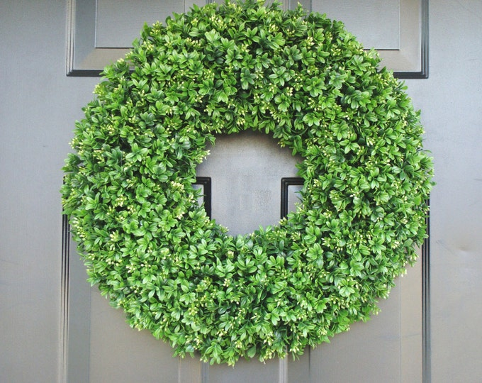 Extra Full Faux Boxwood Wreath- Summer Wreaths- Outdoor Decor- Wall Art- Shabby Chic Decor- Wedding Wreath- Spring Decor 20 inch