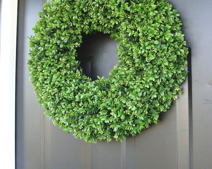 Realistic 20 inch Faux Boxwood Wreath shown  (sizes 12 to 30 inches available)- Wedding Door Decor- Spring Wreath