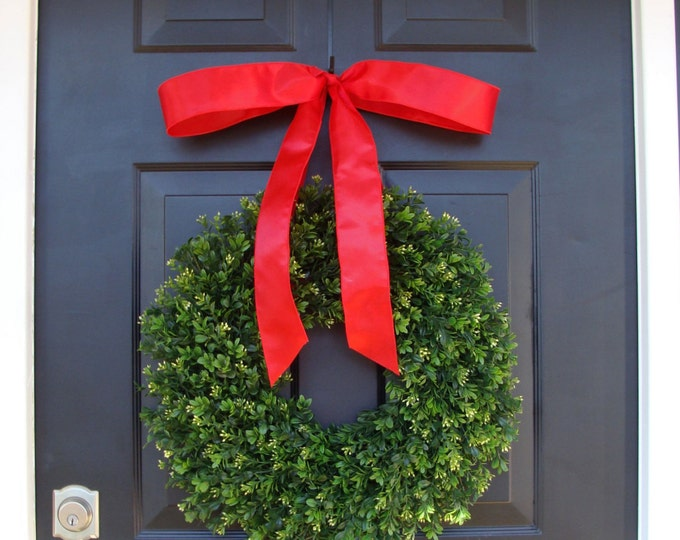 Realistic Artificial Boxwood Christmas Wreath- Outdoor Christmas Decor- Holiday Wedding Wreath- 14-24 inch sizes