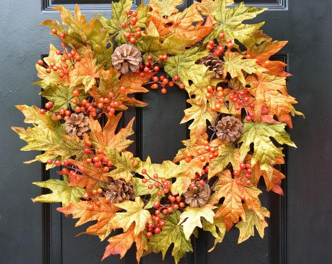 Berry Fall Leaves Wreath, Fall Wreath, Fall Decor Autumn Wreath with Pinecones, Outdoor Fall Decor, Fall Colors