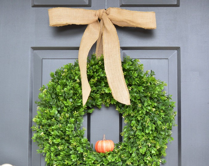 Fall Boxwood Wreath, THIN Pumpkin Fall Wreath, THIN Boxwood Door Hanging, Fall Wreaths, Fall Decor, Boxwood with Burlap Bow