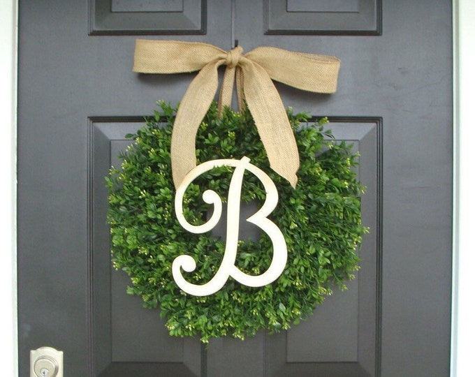 Monogram Boxwood Wreath, Boxwood Monogram Wreath with Burlap Bow, Housewarming Gift, Wedding Wreath 20 INCH  Shown