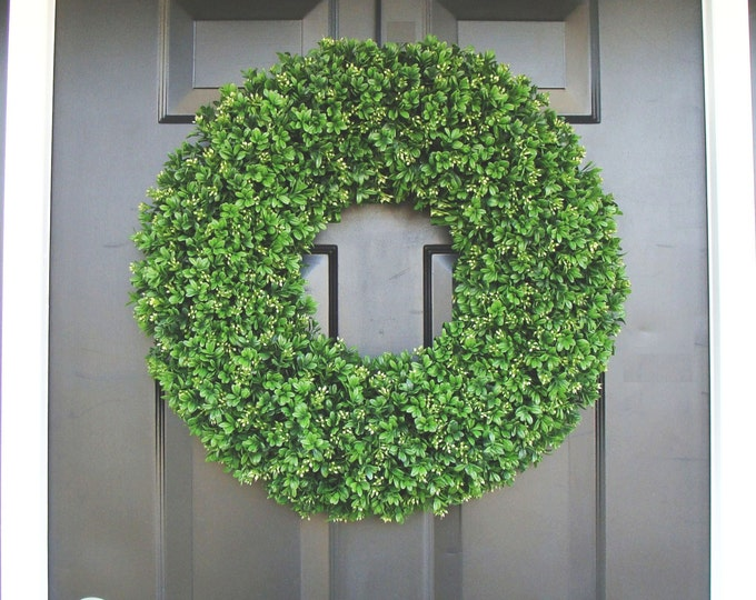 Year Round Wreath, Front Door Decor, Outdoor Boxwood Wreath, Room Decor, Wall Decor, XL 24 Inch