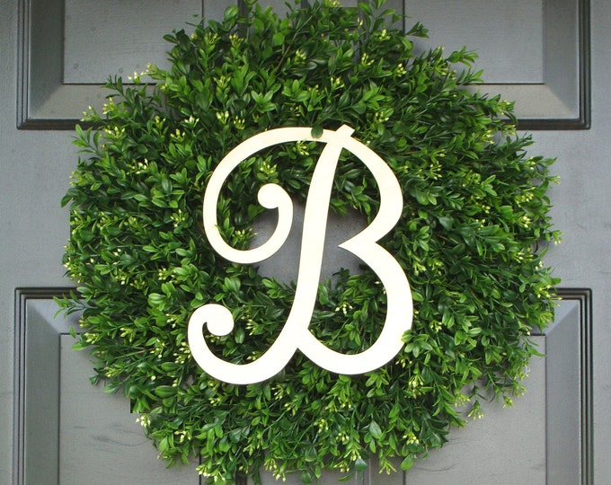 Monogram Boxwood Wreath, Monogram Wreath, Outdoor Decor, Fall Wreath, Etsy Wreath 16-26 INCH Available
