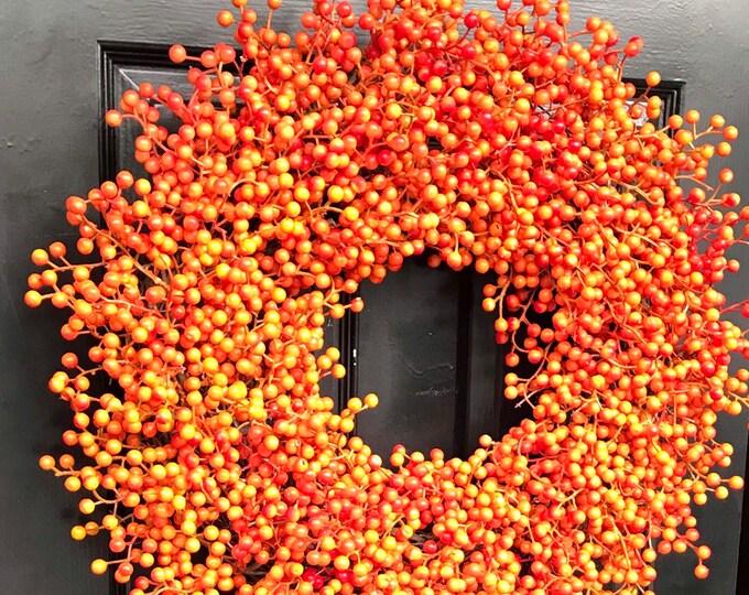 BESTSELLING Orange Weatherproof Fall Berry Halloween Wreath, Fall, Halloween Decor, Halloween Decoration, WEATHERPROOF Berries 24 inch Shown