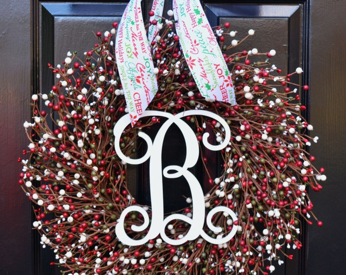 Winter Wreath- Door Wreath- Christmas Wreath- Red Green White Wreath- Christmas Decor- Winter Decorations- Winter Decor- Christmas