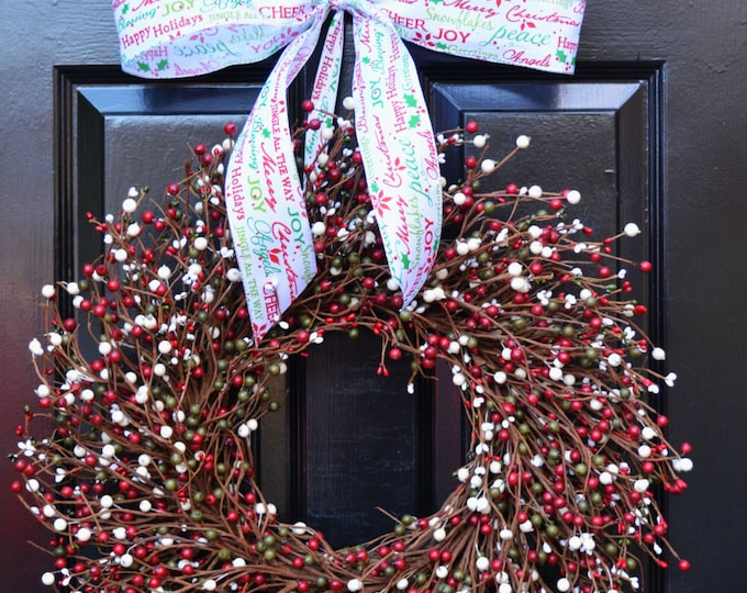 Christmas Wreath- Berry Red Green Cream Door Wreath- Winter Wreath- Christmas Decor- Winter Decor- Christmas Decoration- Berry Wreaths