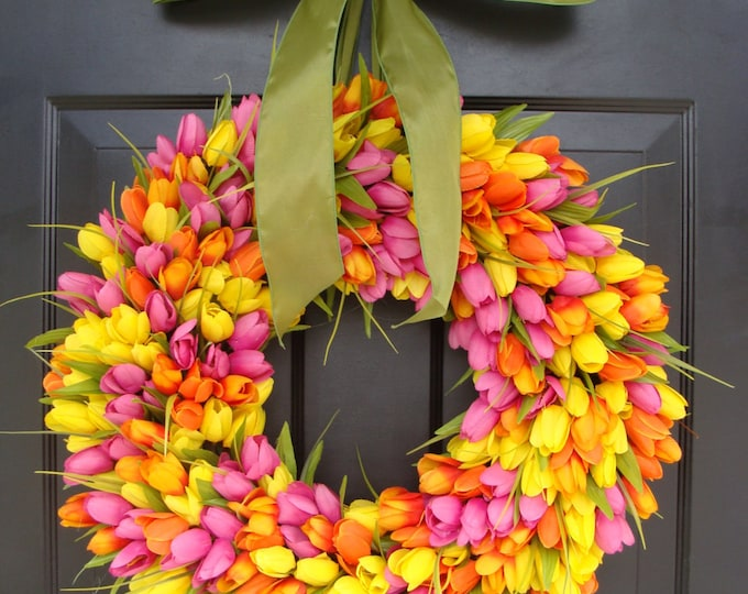 Spring Wreaths- Spring Wreath- Tulip Wreath- Gift for Mom-Wreath for Spring- Custom Sizes