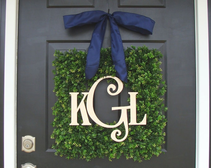 Boxwood Wood Monogram Wreath- Monogram Boxwood Wreath- Wedding Wreath- Wedding Decor- Couples Wood Monogram- Front Door Wreath 18-24 inches