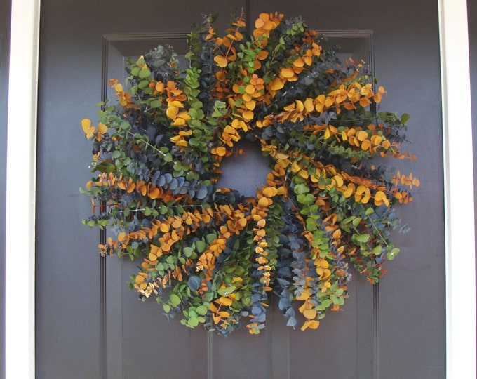 Eucalyptus Wreath, Dried Floral Wreath, Dried Floral Arrangement- Blue, Sage, and Amber in 16,20 or 24 inch Sizes, Wall Decor, Home Decor