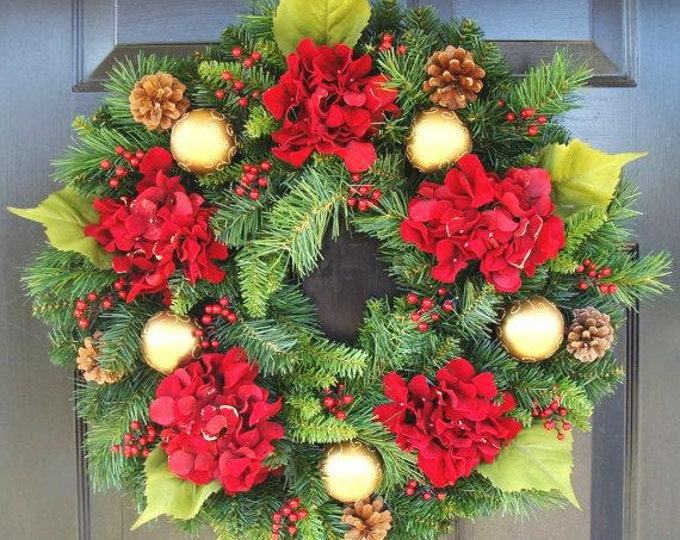 Holiday Gift, Christmas Wreath Front Door Hydrangea Holiday Winter Door Wreath,Holiday Evergreen Wreath,Christmas Decoration,Door Wreath