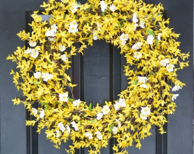 Year Round Wreath- Spring Forsythia Wreath- Forsythia Spring Wreath-Door Wreath 24 inch