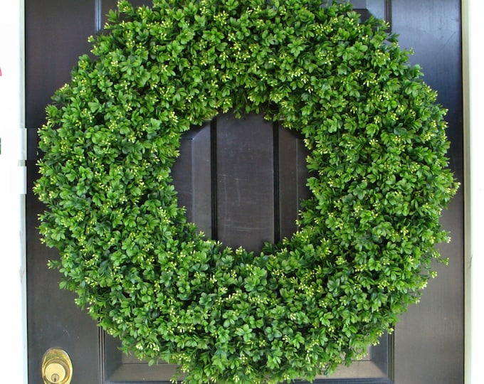 30 INCH Boxwood Wedding Wreath, Living Room Decor, Wall Decor, ARTIFICIAL Boxwood Wreath, Year Round Wreath, Wedding Decor, Wall