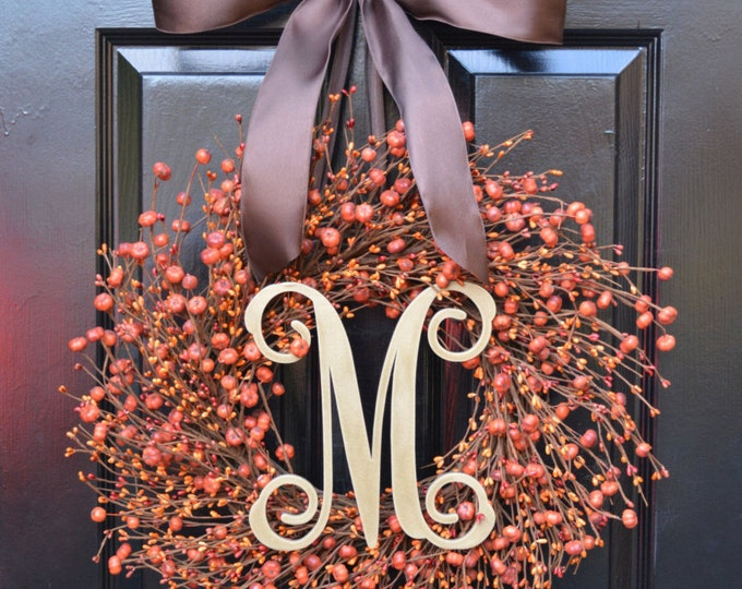 Thanksgiving Pumpkin Autumn Wreath- Fall Wreath- Pumpkin Berry Wreath- Orange Pumpkin Fall Wreath- Autumn Decoration- Orange Berries-