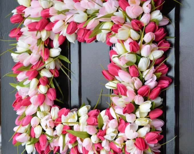 Pink Tulip Spring Wreath- Pink Tulip Wreath- Valentine's Day Square Wreath- 20 inch shown, custom colors- The Original Tulip Wreath